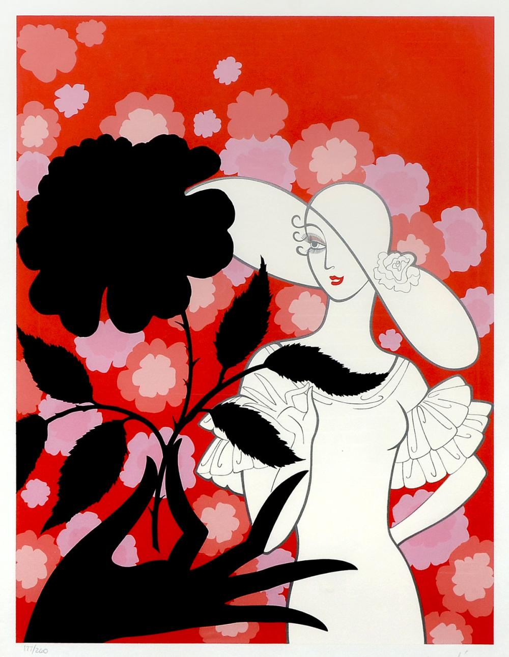 ERTE SERIGRAPH THE BLACK ROSE