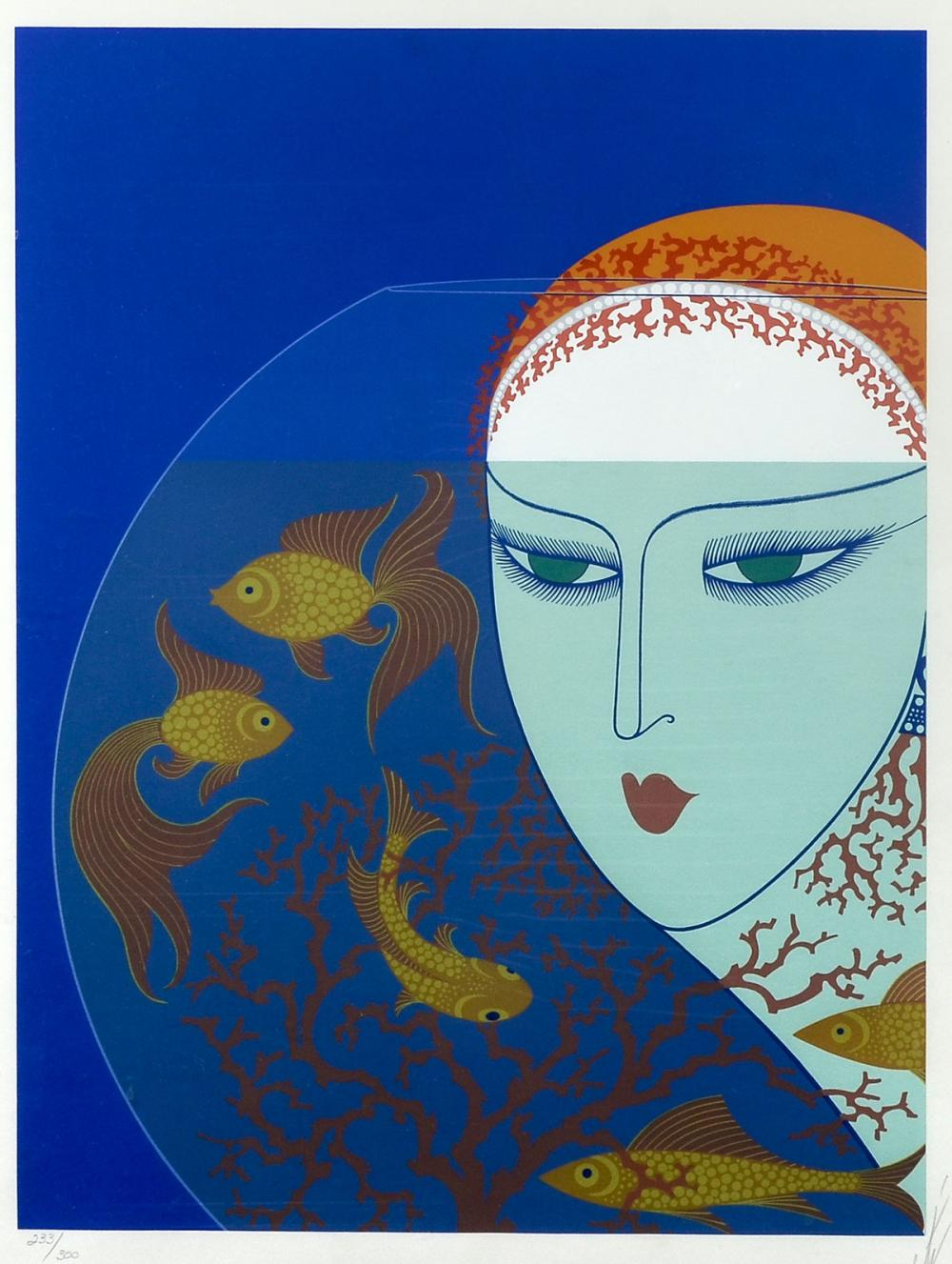 ERTE SERIGRAPH FISH BOWL