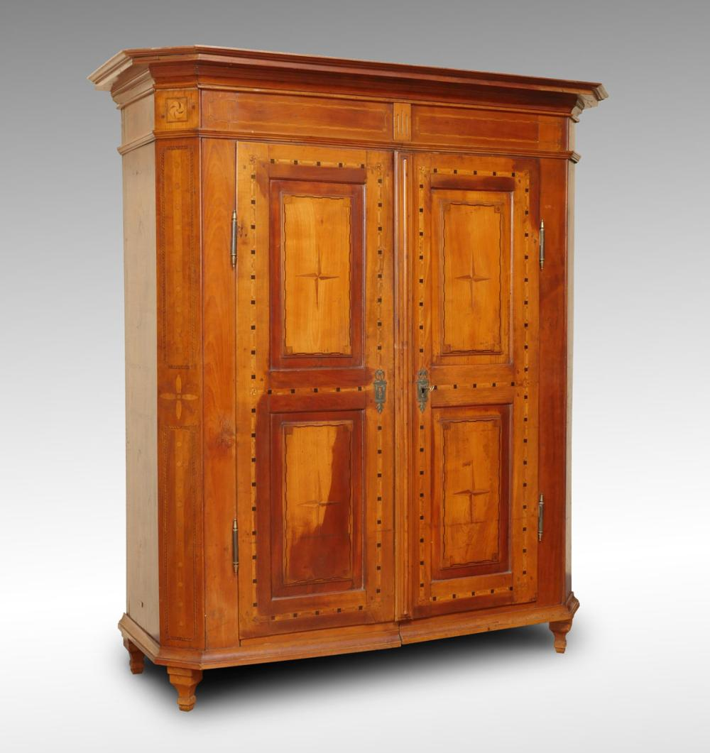 19TH CENTURY EUROPEAN PARQUETRY INLAID ARMOIRE