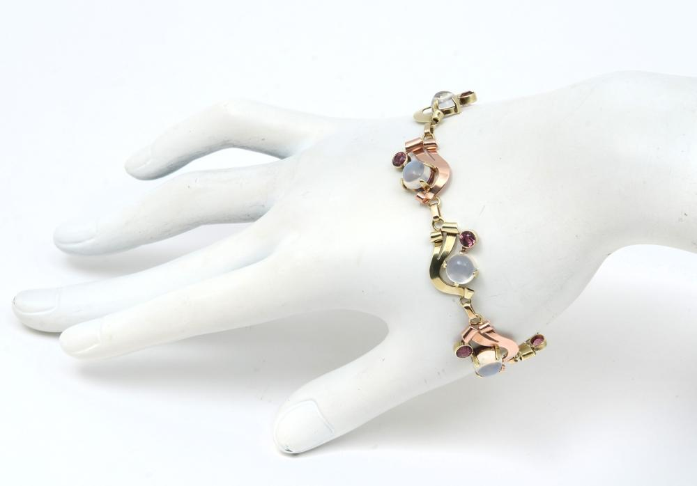 14K TWO TONE MOONSTONE & TOURMALINE BRACELET
