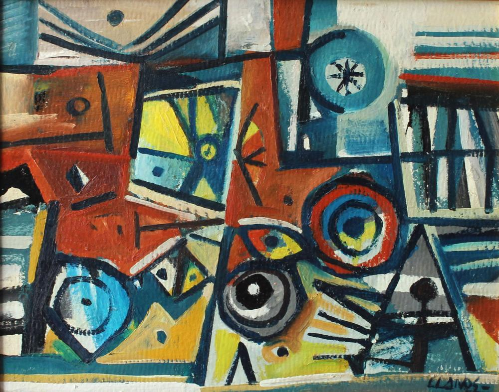 CARLOS LLANOS PAINTING CUBIST ABSTRACT MODERN