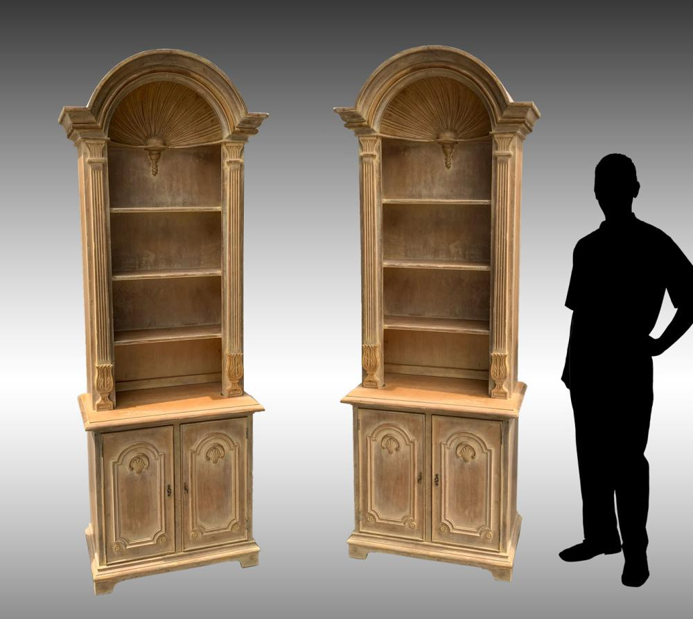 PR OF SHELL CARVED TALL BOOKCASE CABINETS