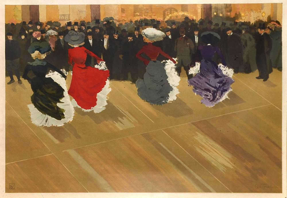 ABEL-TRUCHET ''WOMEN DANCING THE CANCAN'' LITHOGRAPH