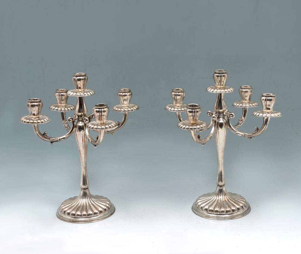 PAIR OF EUROPEAN (.800) SILVER CANDELABRUMS