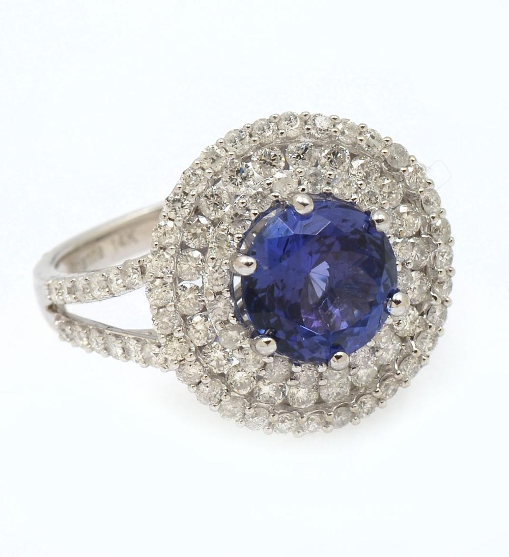 14K 2.50 CT TANZANITE &  DIAMOND RING