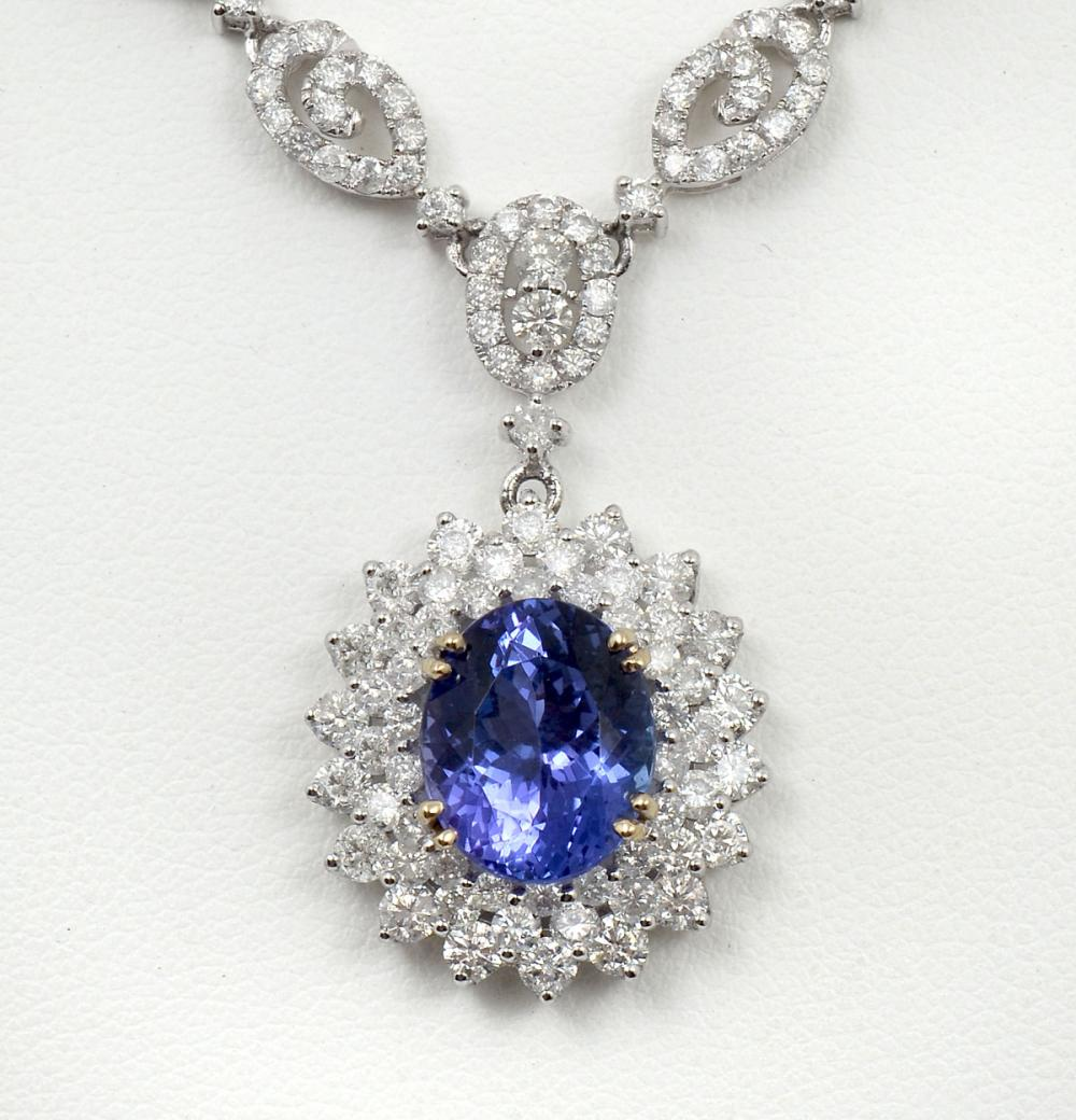 STUNNING 18K 5.63 TANZANITE & DIAMOND NECKLACE