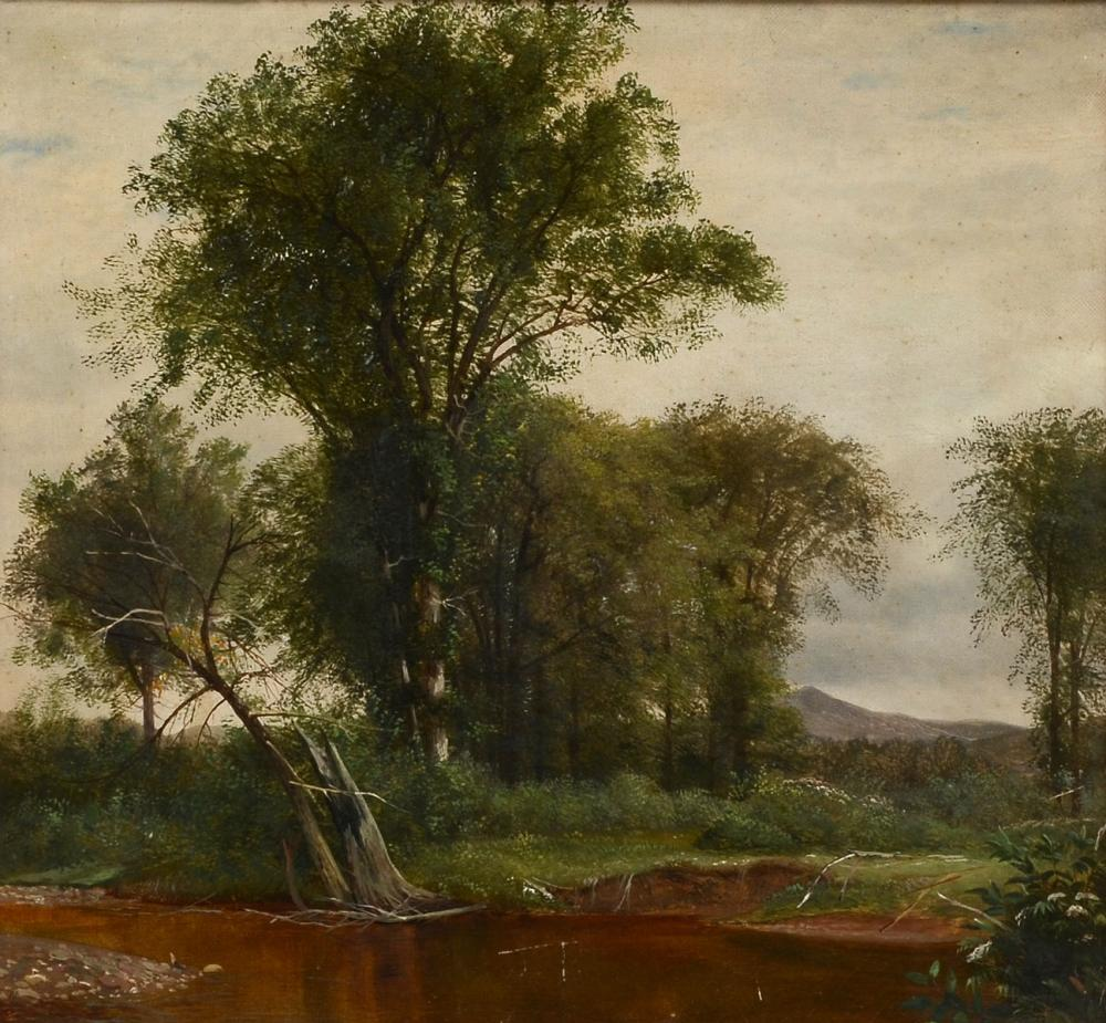 FINE 19TH C. PAINTING LANDSCAPE WITH STREAM