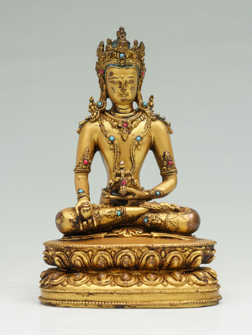 19TH C. GILT COPPER KWAN-YIN STATUE