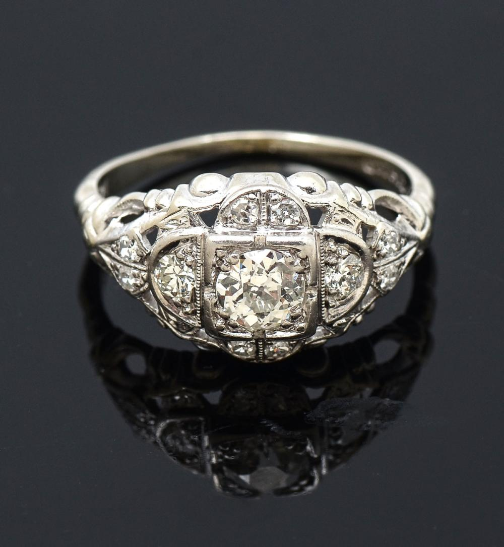 14K & DIAMOND ART DECO REVIVAL RING BY GOTHIC