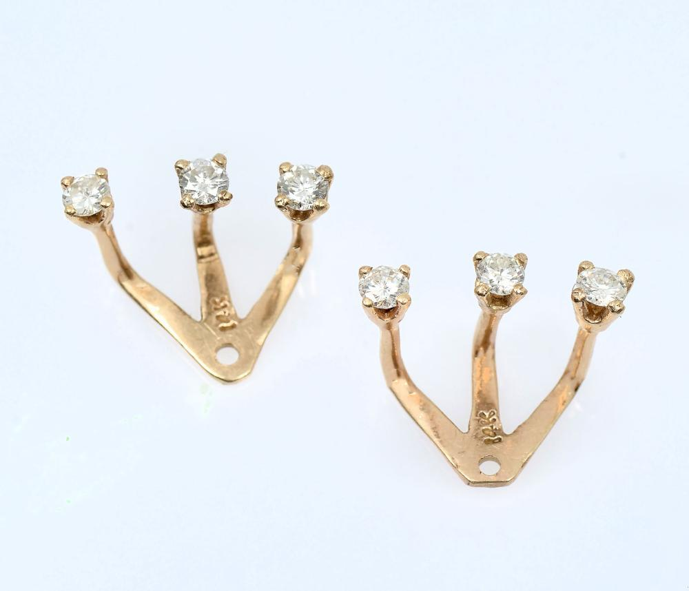 14K EAR JACKETS WITH .60 CTW DIAMONDS