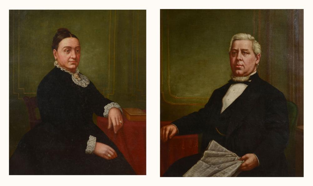 MR & MRS 19TH C AMERICAN SCHOOL PORTRAIT PAINTINGS