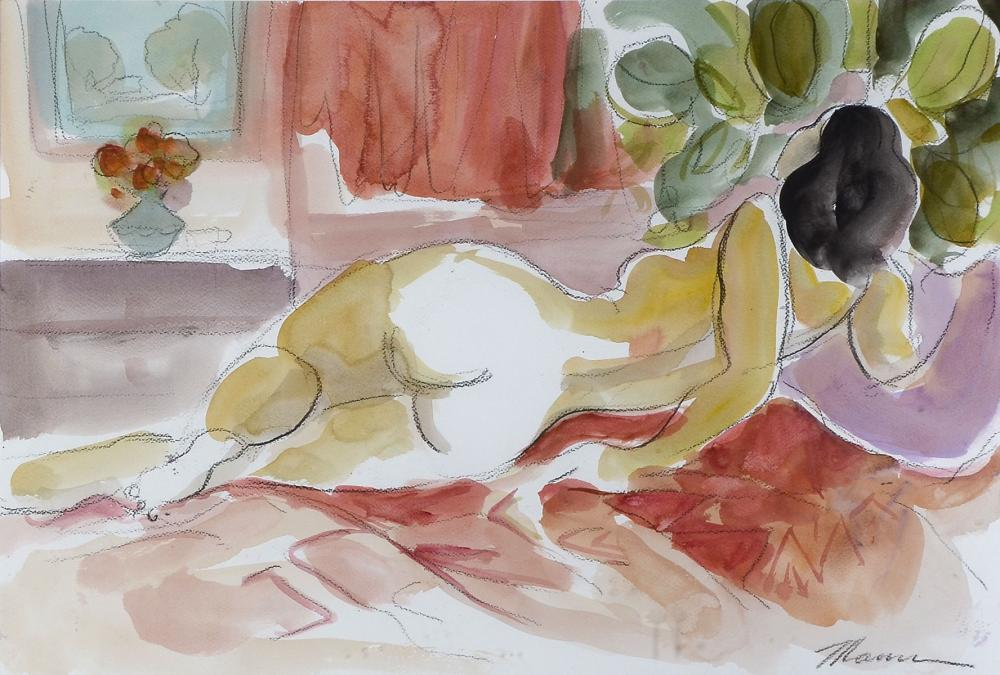 ORIGINAL ISAAC MAIMON RECLINING NUDE WATERCOLOR