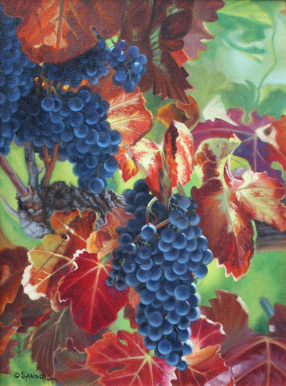 PHOTO REALIST PAINTING OF GRAPES BY RON SANDERS