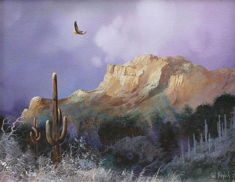 TED BLAYLOCK WESTERN SCENE OIL PAINTING