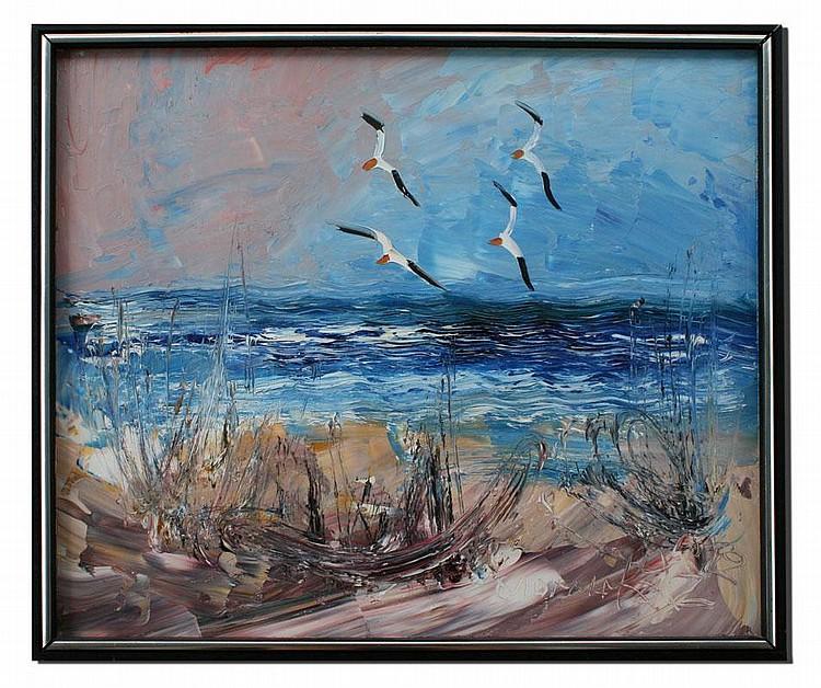 Morris katz shore scene painting for Katz fine art