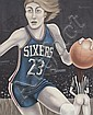 ALVARO GUILLOT SIXERS KNICKS PAINTING, Alvaro Guillot, Click for value