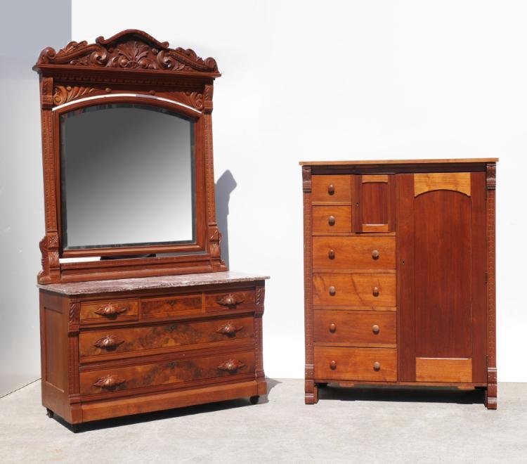 Carved victorian bedroom suite