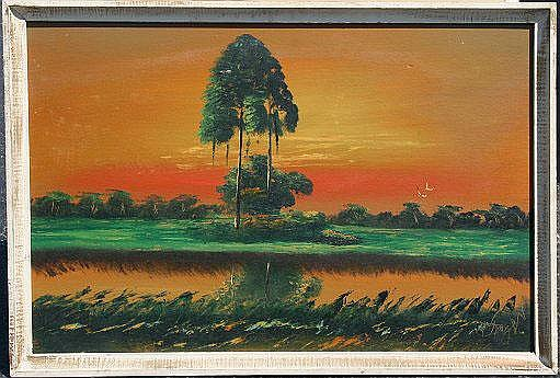 KNIGHT, Issac, (American, 20th C): ''Sunset in the