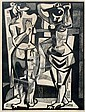 CHARLES QUEST NUDE FEMALE BATHERS WOODCUT, Charles Francis Quest, Click for value