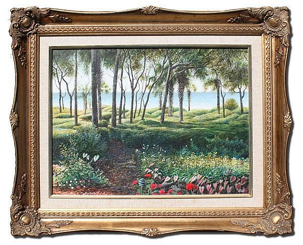 ARTHUR BIEHL TROPICAL COASTLINE PAINTING