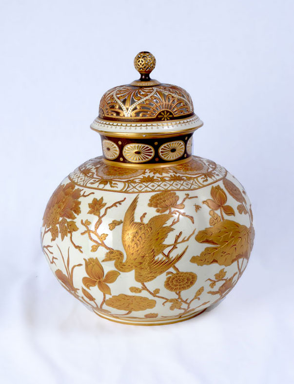 LARGE ROYAL CROWN DERBY GILT DECORATED GINGER JAR