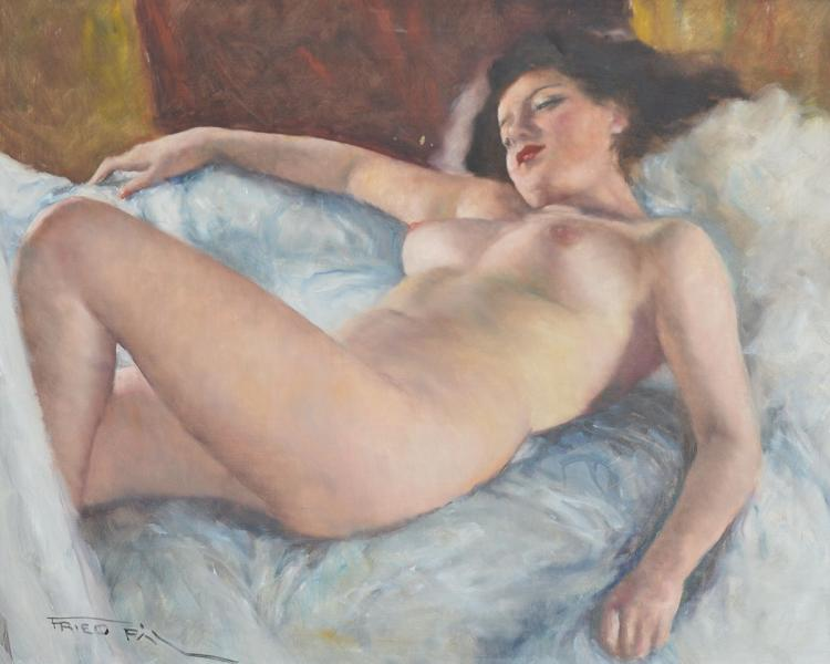 FRIED PAL RECLINING NUDE BEAUTY PAINTING