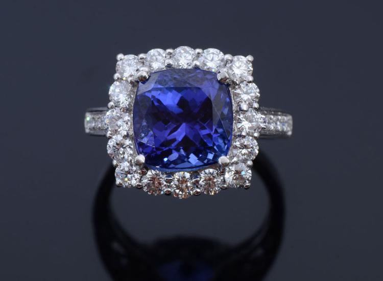 7.55CT TANZANITE & DIAMOND RING IN PLATINUM