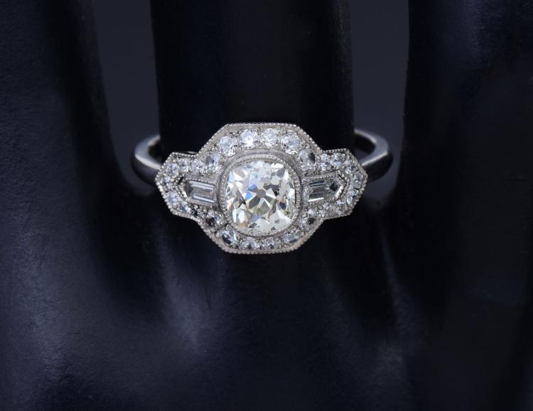 PLATINUM & 1.71CTW DIAMOND ART DECO REVIVAL RING