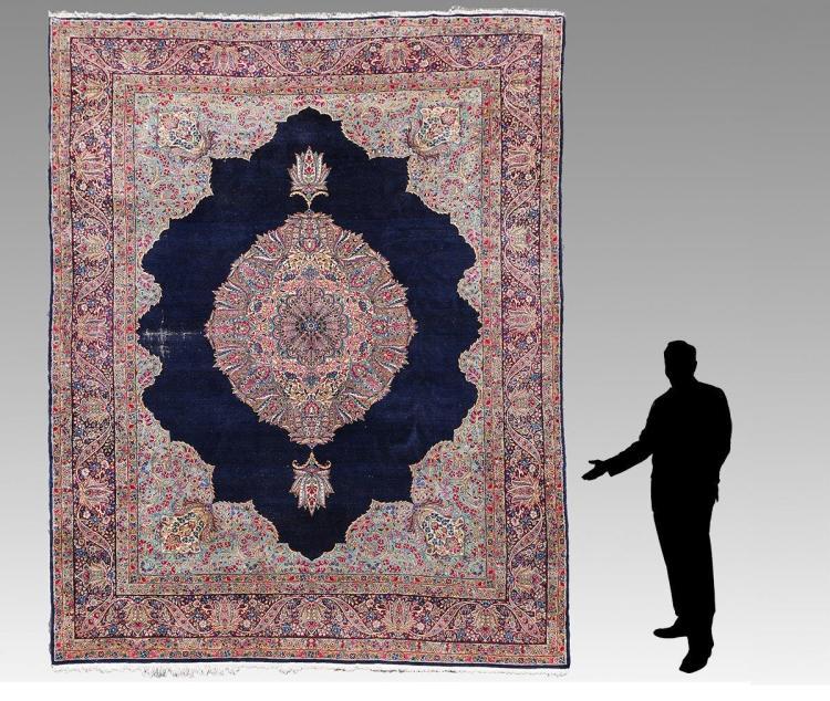SEMI-ANTIQUE PERSIAN KERMAN Hk WOOL RUG, 8'10 x 11'9
