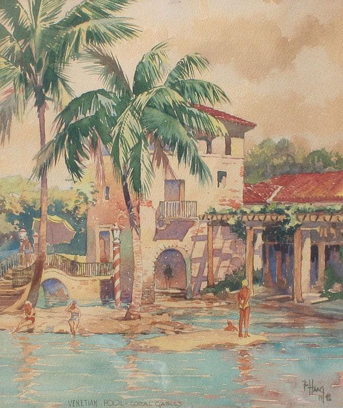 BILL HAAG VENETIAN POOL FLORIDA PAINTING 1942