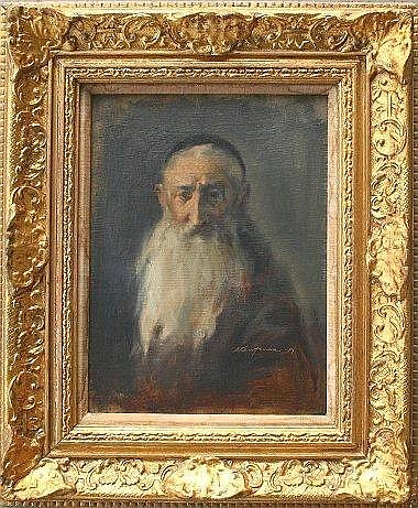 KAUFMAN, Stuart, (American, 1926-): Portrait of a Rabbi, O-CB, 12in x 9in,  signed lower right, dated 1957, also signed verso, encased in a embossed gilt  carved frame, 18.25in x 15.25in.
