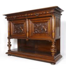 FRENCH FIGURAL DRAGON CARVED SIDEBOARD