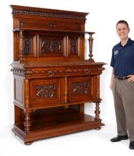 FRENCH FIGURAL DRAGON CARVED CREDENZA