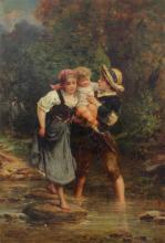 EUGENE LEJEUNE GENRE PAINTING WITH CHILDREN