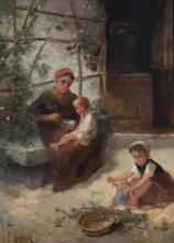 GENRE PAINTING WITH MOTHER AND CHILDREN BY REYNAUD