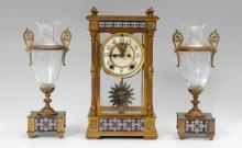 ANSONIA CHAMPLEVE CLOCK GARNITURE SET