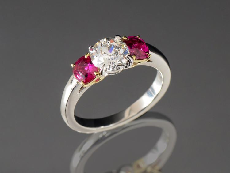 PLATINUM & 18K RING WITH BURMA RUBY & FINE DIAMOND
