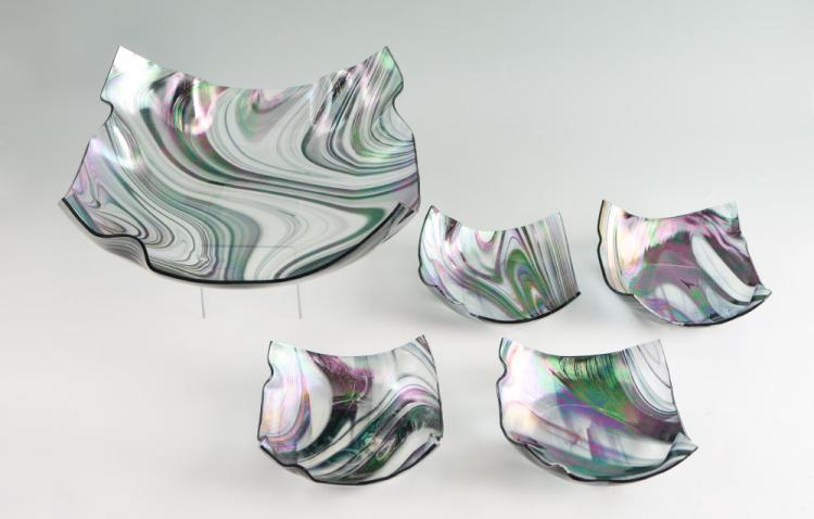 STRIATED ART GLASS DISH SET SIGNED DATED 03