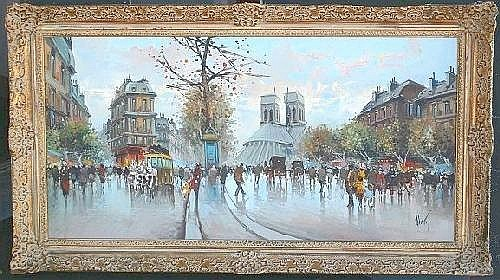 DEVITY, Antonio, (Italian, 20th C): Parisian street scene, Oil on Canvas