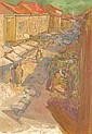 RASKIN, Saul, (): Street scene with market and, Saul Raskin, Click for value