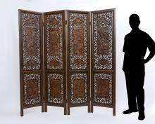 CHINESE CARVED 4 PANEL FLOOR SCREEN