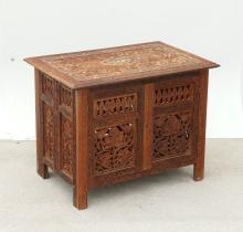 PERSIAN INLAID CARVED BLANKET CHEST