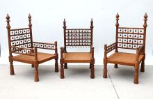 3 INDIAN CARVED WEDDING CHAIRS