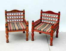 PAIR OF PAINT DECORATED INDIAN WEDDING CHAIRS