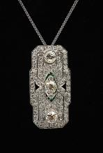 PLATINUM DIAMOND & EMERALD ART DECO BROOCH/PENDANT