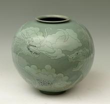 KOREAN CELADON DRAGON AND TIGER JAR