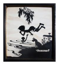 SILHOUETTE LITHOGRAPH SWIMMING HOLE