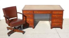 SAHON N.Y. LEATHER TOP EXECUTIVE DESK AND LEATHER CHAIR