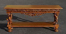 STENCEL FIGURAL CARVED OAK SOFA OR FOYER TABLE