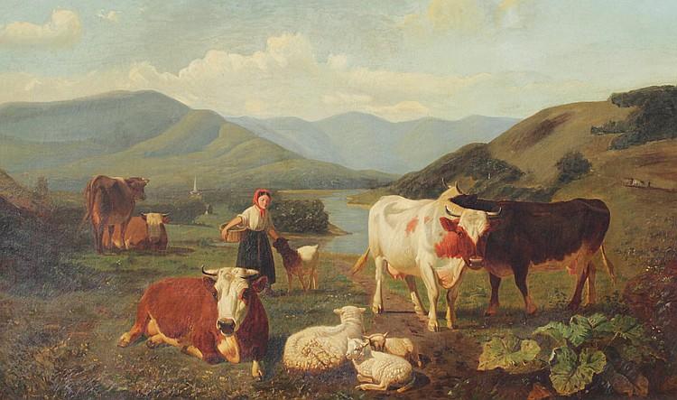 VAN STARCKENBORGH STACHOUWER PAINTING DUTCH LANDSCAPE WITH COWS